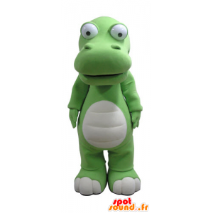 Mascotte de crocodile vert et blanc, géant