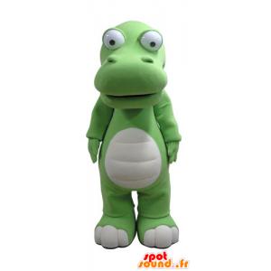 Vihreä ja valkoinen krokotiili maskotti, jättiläinen - MASFR031133 - krokotiili Maskotteja