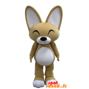 Beige und weißer Fuchs Maskottchen mit den großen Ohren - MASFR031134 - Maskottchen-Fox