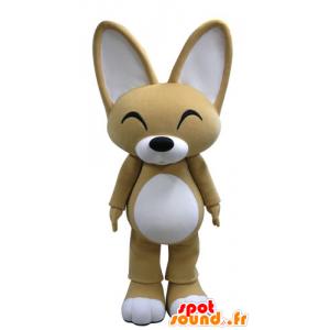 Mascotte de renard beige et blanc avec de grandes oreilles - MASFR031134 - Mascottes Renard