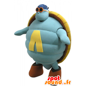Blått og gult skilpadde maskot, gigantiske - MASFR031138 - Turtle Maskoter