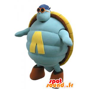Blauw en geel schildpad mascotte, reuze - MASFR031138 - Turtle Mascottes