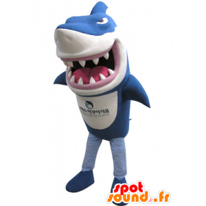 Mascot in blue and white shark, fierce-looking - MASFR031139 - Mascots shark