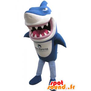 Mascotte de requin bleu et blanc, à l'air féroce - MASFR031139 - Mascottes Requin
