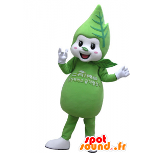 Mascotte de feuille verte et blanche, géante et souriante - MASFR031144 - Mascottes de plantes