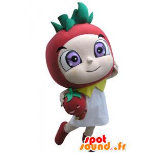 Mascotte en forme de fraise rouge et verte - MASFR031146 - Mascotte de fruits