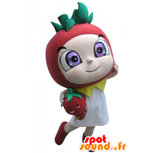 Rojo de la mascota en forma de fresa y verde - MASFR031146 - Mascota de la fruta
