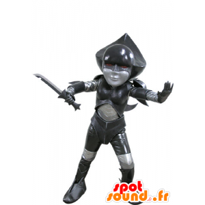 Maskottchen schwarz und grau futuristischen Kämpfer - MASFR031150 - Maskottchen nicht klassifizierte