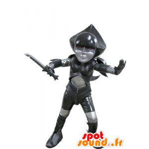 Mascot svart og grå futuristisk fighter - MASFR031150 - Ikke-klassifiserte Mascots