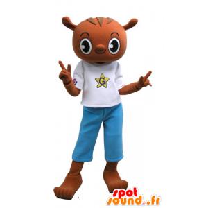 La mascota de peluche marrón con un vestido azul y blanco - MASFR031153 - Oso mascota