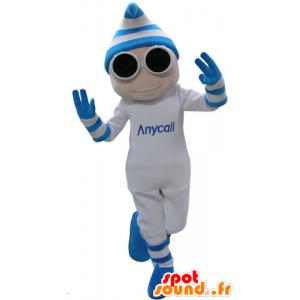 Mascot weiß und blau Mann mit Brille und einer Kappe - MASFR031157 - Menschliche Maskottchen