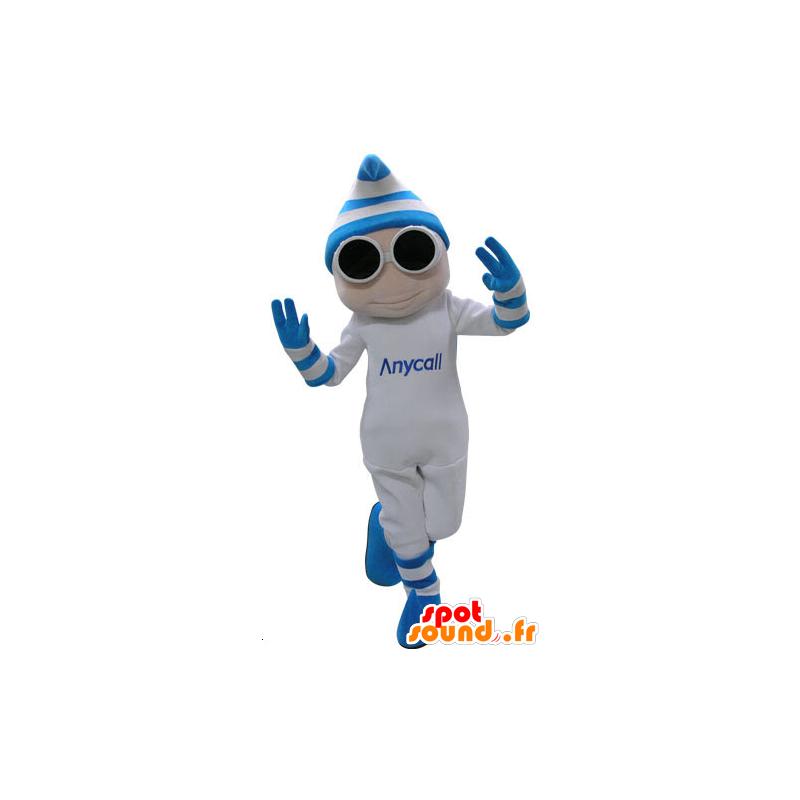 mascotte de bonhomme blanc et bleu avec des lunettes et un bonnet dans mascottes homme. Black Bedroom Furniture Sets. Home Design Ideas