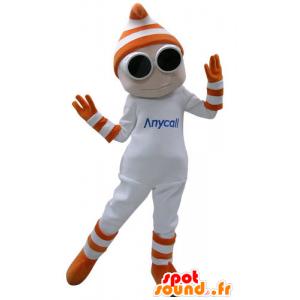 Weißer Schneemann Maskottchen mit Brille und Handschuhe - MASFR031158 - Menschliche Maskottchen