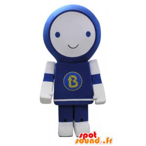 Blu della mascotte e del robot bianco, sorridente - MASFR031160 - Mascotte non classificati