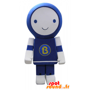 Mascot blauwe en witte robot, glimlachend - MASFR031160 - Niet-ingedeelde Mascottes