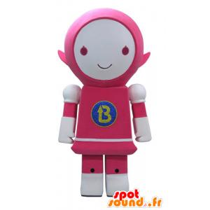Mascotte rosa e robot bianco, sorridente - MASFR031161 - Mascotte non classificati
