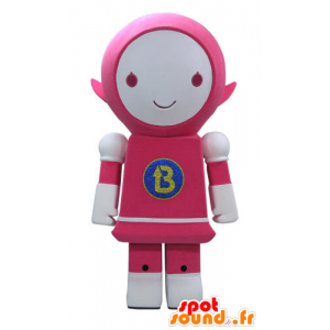 Mascot roze en witte robot, glimlachend - MASFR031161 - Niet-ingedeelde Mascottes