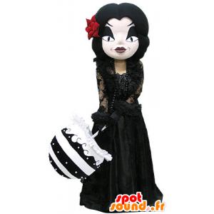 Mascotte de femme gothique maquillée, habillée en noire