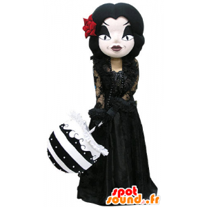 Mascotte donna trucco gotico, vestito di nero