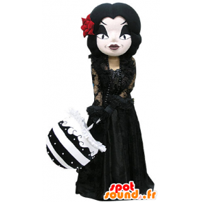 Mascot gothic makeup woman, dressed in black - MASFR031170 - Mascots woman