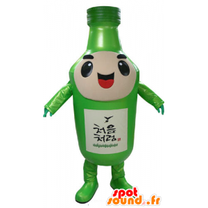 Green bottle mascot, giant and smiling - MASFR031173 - Mascots bottles