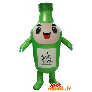 Groene fles mascotte, reus en glimlachen - MASFR031173 - mascottes Flessen