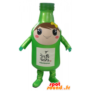 Green bottle mascot, giant, elegant and smiling - MASFR031174 - Mascots bottles
