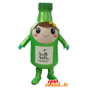 Mascotte de bouteille verte, géante, élégante et souriante - MASFR031174 - Mascottes Bouteilles