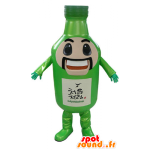 Green bottle mascot, giant, mustachioed and smiling - MASFR031175 - Mascots bottles