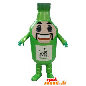 Groene fles mascotte, reus, snor en glimlachend - MASFR031175 - mascottes Flessen