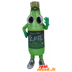 Green bottle mascot soda, smiling and funny - MASFR031176 - Mascots bottles