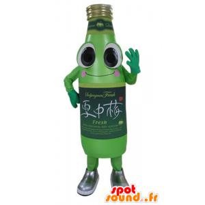 Groene fles mascotte soda, glimlachen en grappige - MASFR031176 - mascottes Flessen