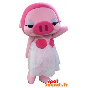 Pink pig mascot masked with a white dress - MASFR031179 - Mascots pig