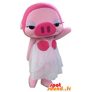 Rosa Schwein-Maskottchen mit einem weißen Kleid maskiert - MASFR031179 - Maskottchen Schwein