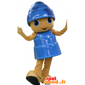 Mascot gelben und blauen Schneemann, heiter - MASFR031187 - Menschliche Maskottchen
