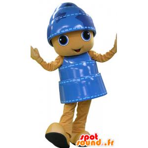 Mascot yellow and blue snowman, cheerful - MASFR031187 - Human mascots