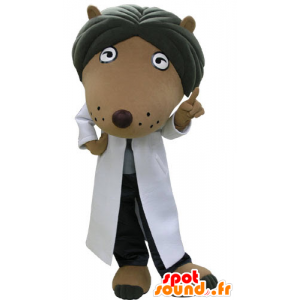 Brown dog mascot and black, dressed in a white coat
