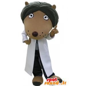 Mascotte de chien marron et noir, habillé d'une blouse blanche - MASFR031188 - Mascottes de chien