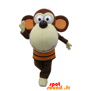 Brown and white monkey mascot with a big head - MASFR031189 - Mascots monkey
