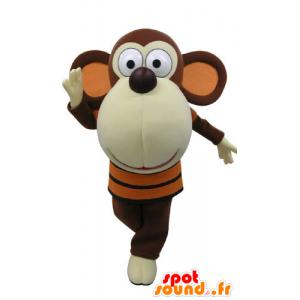 Ruskea ja valkoinen apina maskotti iso pää - MASFR031189 - monkey Maskotteja