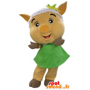 Gelb Schwein Maskottchen mit einem grünen Kleid - MASFR031191 - Maskottchen Schwein