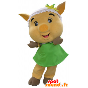 Yellow pig mascot with a green dress - MASFR031191 - Mascots pig