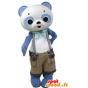Mascotte de panda bleu et blanc avec un short à bretelles - MASFR031196 - Mascotte de pandas
