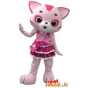 Růžová a bílá kočka maskot, s hezkou šaty - MASFR031199 - Cat Maskoti