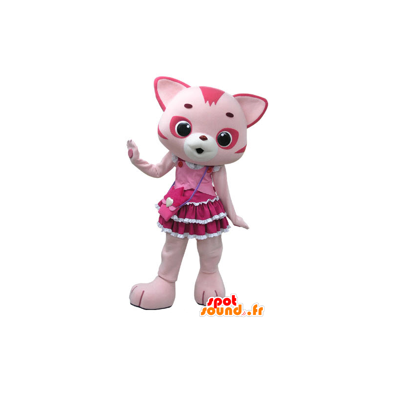 Pink and white cat mascot, with a pretty dress - MASFR031199 - Cat mascots