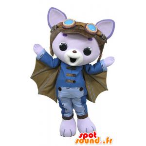 μοβ μασκότ γάτα, με τα φτερά και το κράνος ενός πιλότου - MASFR031200 - Γάτα Μασκότ