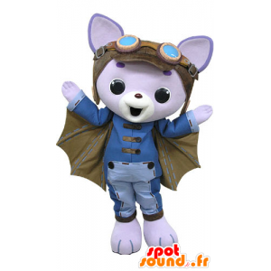 Mascote gato roxo, com asas e capacete de piloto - MASFR031200 - Mascotes gato