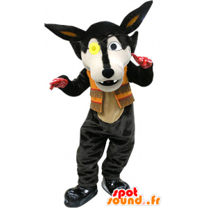 Mascot schwarzer Wolf mit einem Augenflecken - MASFR031201 - Maskottchen-Wolf