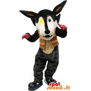 Sort ulv-maskot med øjenlap - Spotsound maskot kostume