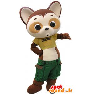 Mascotte marrone e beige panda vestito in pantaloncini verdi - MASFR031202 - Mascotte di Panda